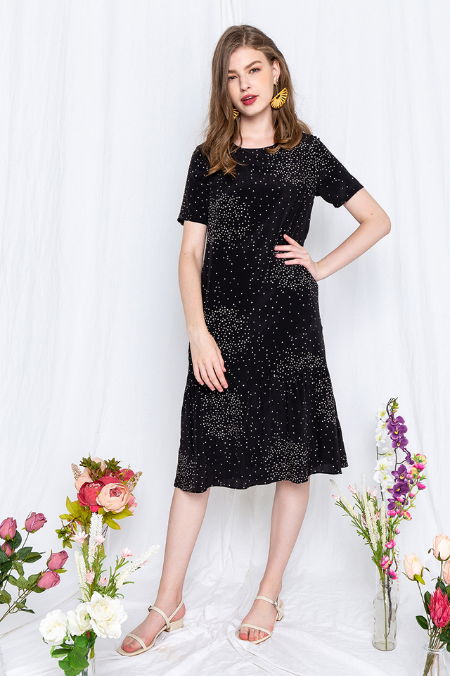 Galaxy Drop Hem Dress in Black
