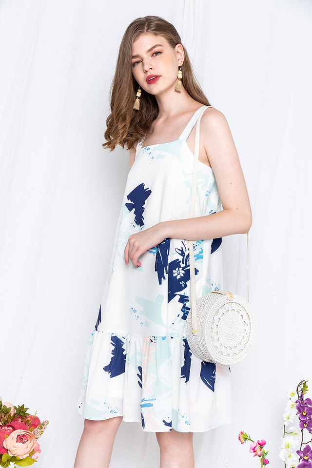 Watercolour Party Dress in Blue