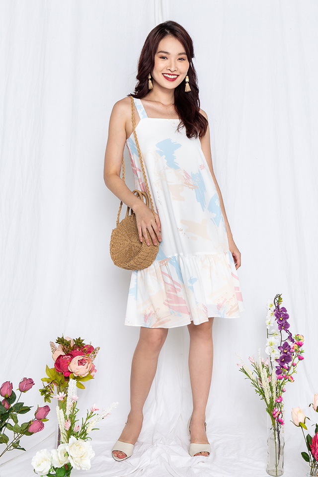 Watercolour Party Dress in Peach