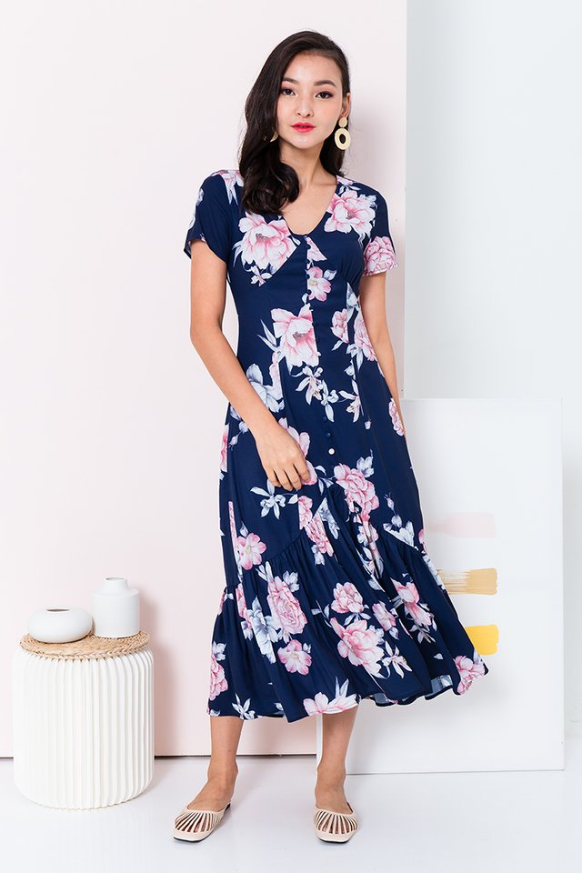 Hopeless Romantic Dress in Navy Florals