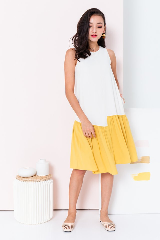 Waterfall Asymmetrical Hem Dress in Cream Marigold