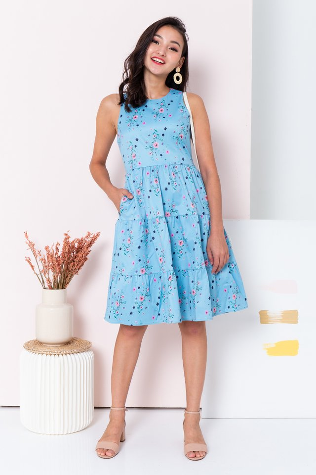 Floral Provence Dress in Maya Blue