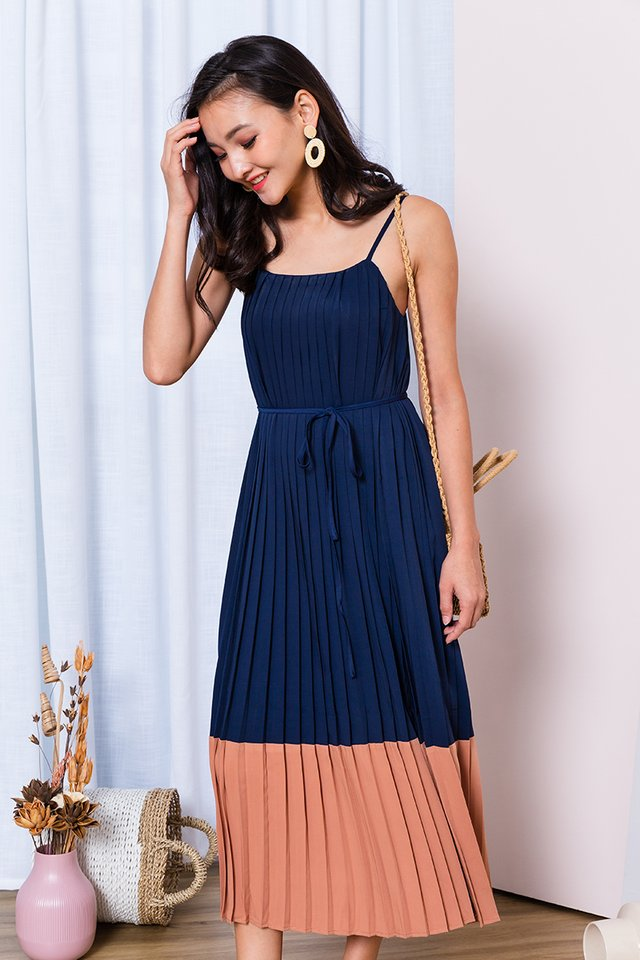 Birthday Cake Dress in Navy Taupe