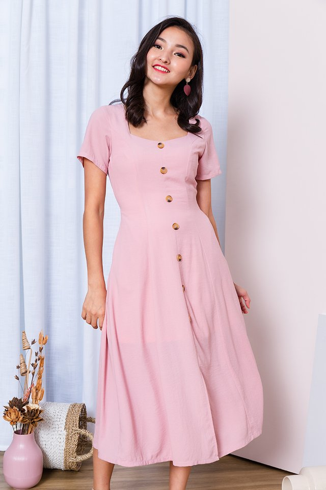 Carly Buttons Dress in Pink
