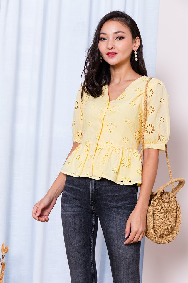 Narcissus Eyelet Top in Yellow
