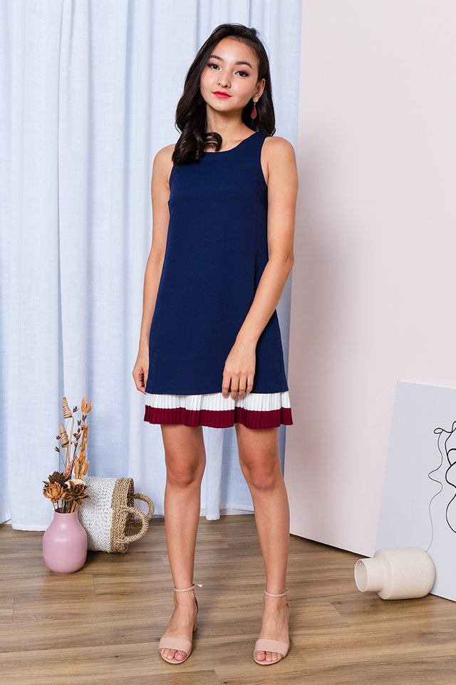 Plead for Pleats Dress in Navy Wine