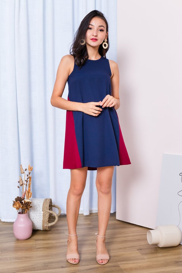 Skyline Dress in Navy Wine