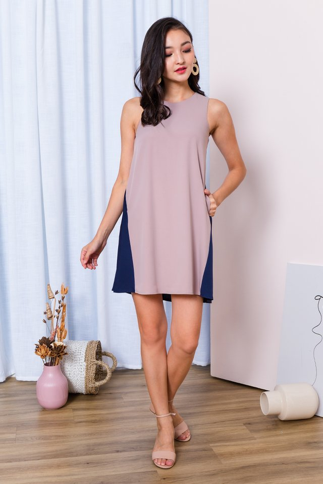 Skyline Dress in Taupe Navy