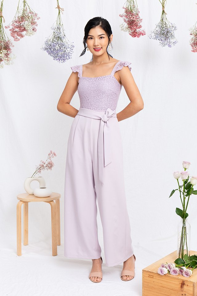 Ellis Flutter Sleeves Jumpsuit in Lavender