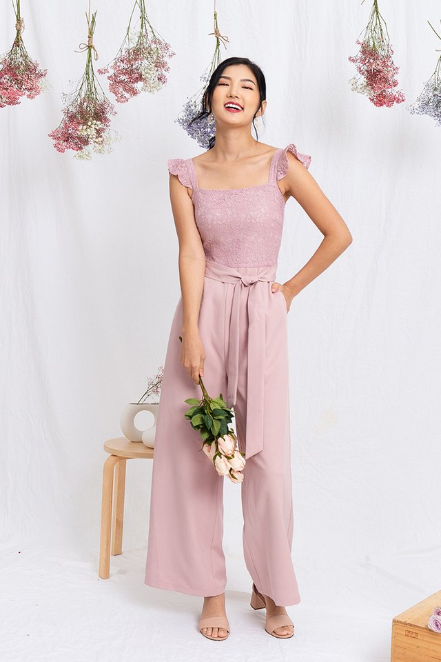 Ellis Flutter Sleeves Jumpsuit in Pink