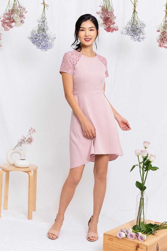 Precious Moments Lace Sleeved Dress in Pink