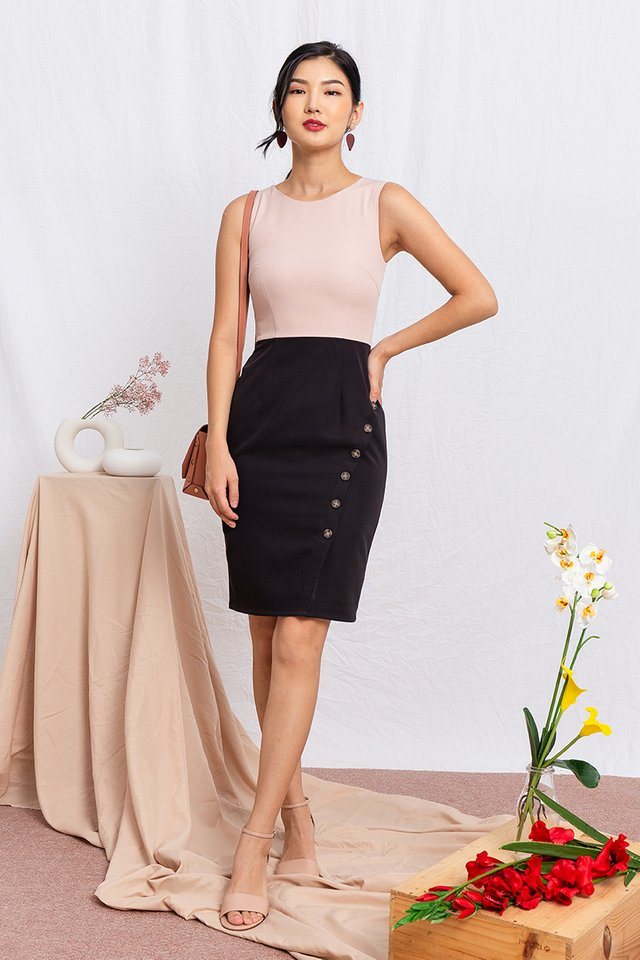 Go-Getter Work Dress in Blush Black