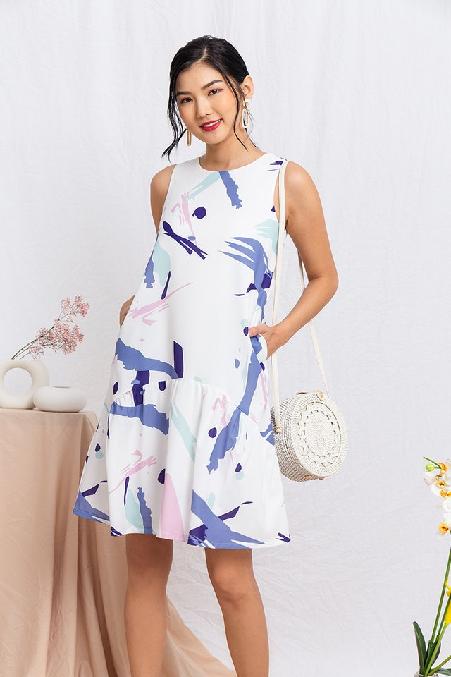 Joie Abstract Drop Hem Dress