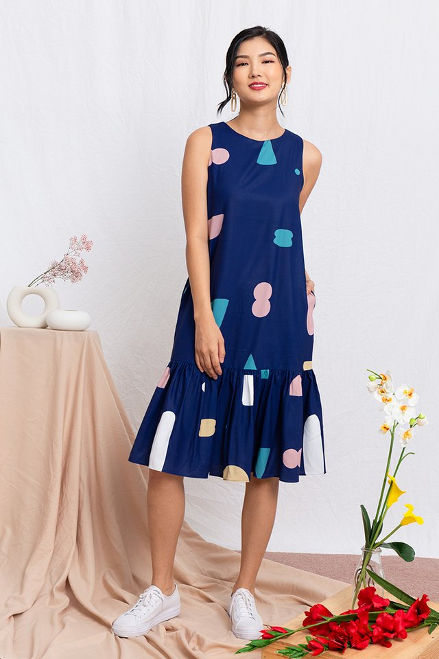 Lost in a Daydream Drop Hem Midi Dress in Navy