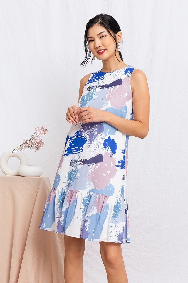 Paint Brushes Drop Hem Dress in Blue