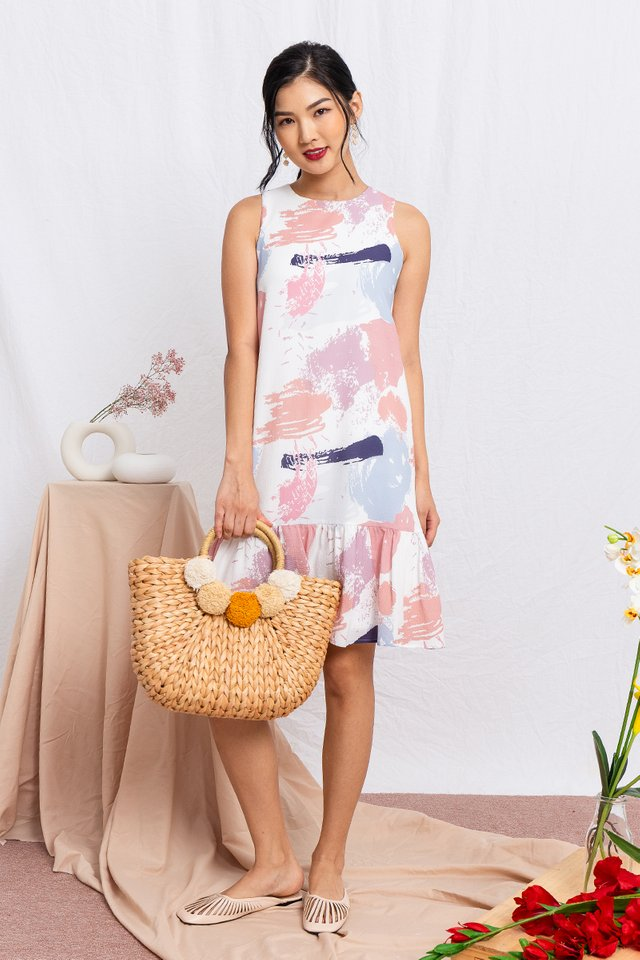Paint Brushes Drop Hem Dress in Pink