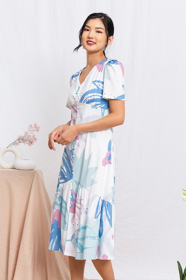 Paradise Island Drop Hem Dress in Tropical Blue