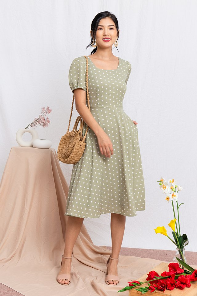 Timeless Tale Polka Dot Midi Dress in Sage Green