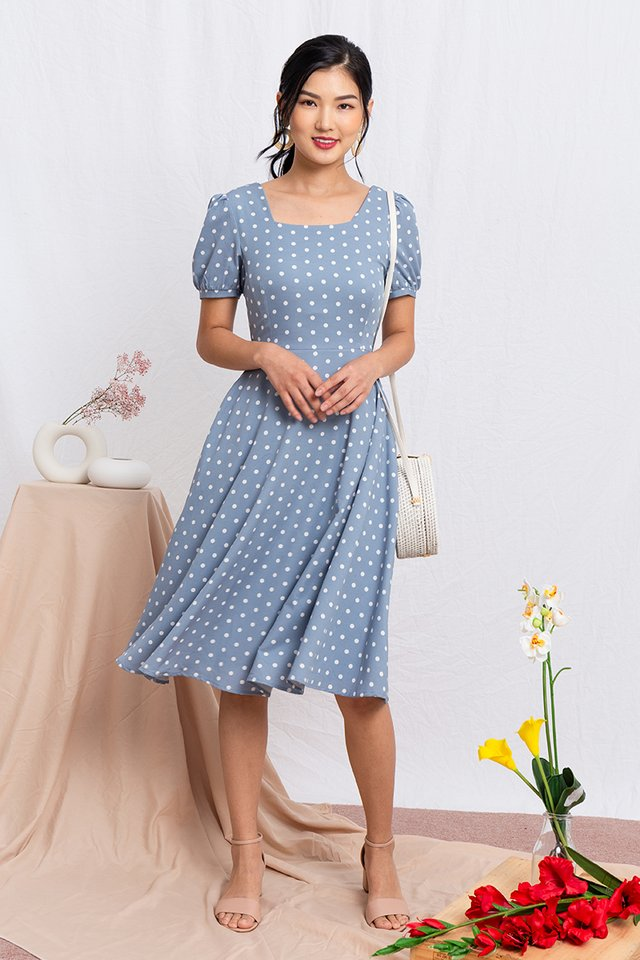 Timeless Tale Polka Dot Midi Dress in Sky Blue