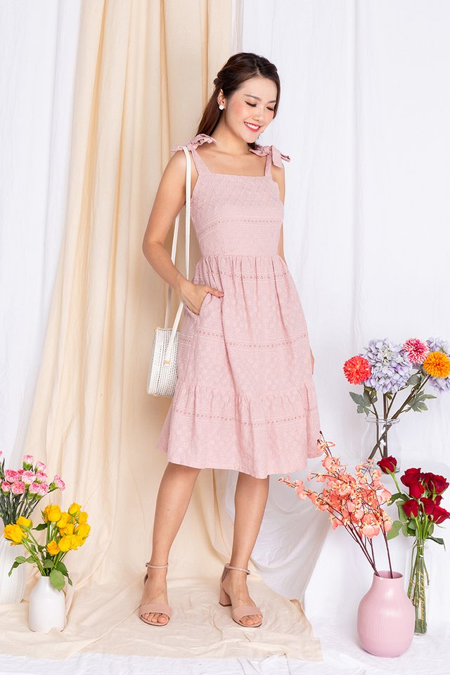 Apple Of My Eyelet Dress in Blush