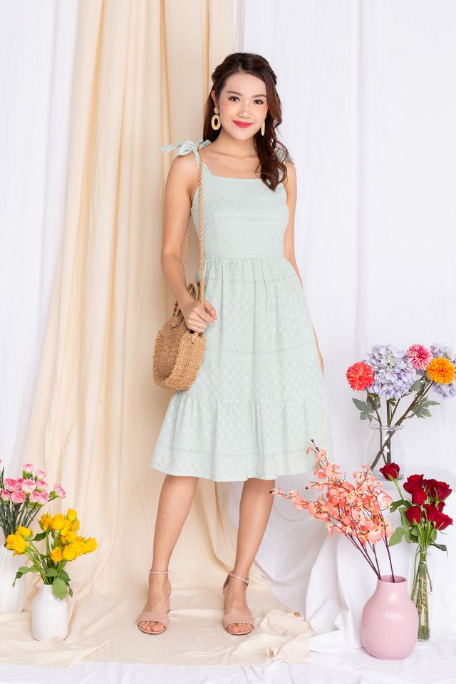 Apple of My Eyelet Dress in Pistachio