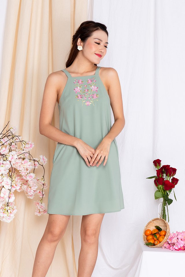 Bellerose Embroidery Dress in Sage