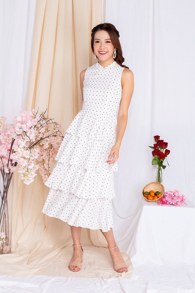 Cupcake Layered Ruffles Midi Dress in Coloured Dots