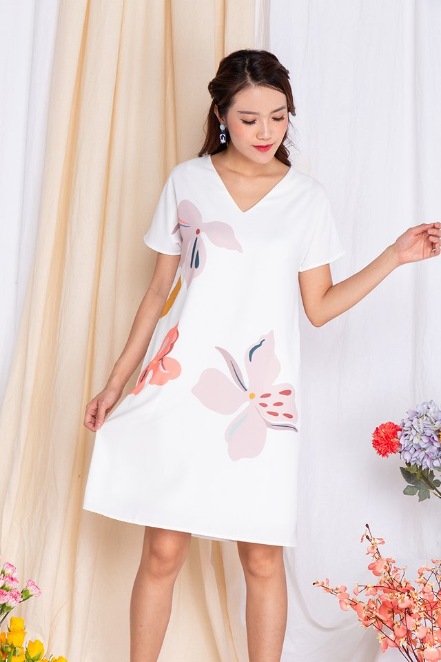 Harmony Sleeved Tee Dress in Pearl White