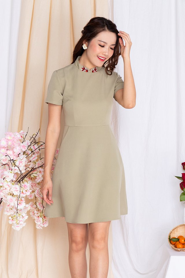 Lucky Charm Goldfish Fit and Flare Dress in Sage Green