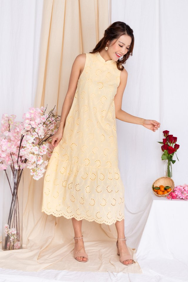 Marjorie Eyelet Midi Dress in Daffodil Yellow
