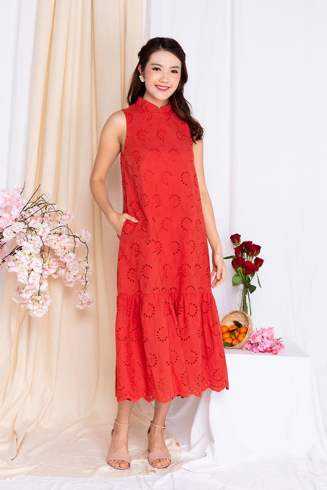 Marjorie Eyelet Midi Dress in Orange Red