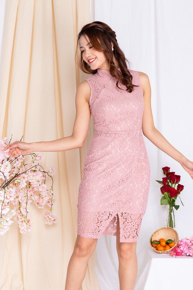 Orient Radiance Lace Cheongsam Dress in Sweet Pink