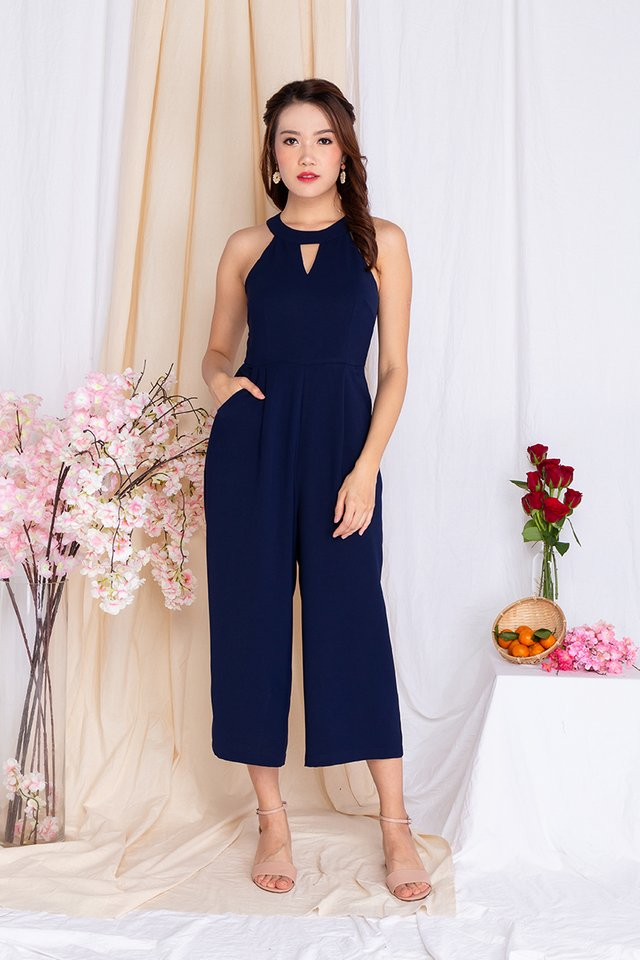 Take Heart Diamond Cut Jumpsuit in Midnight Navy