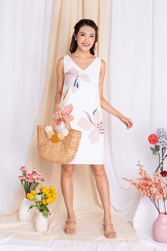 Harmony Sleeveless Dress in Pearl White