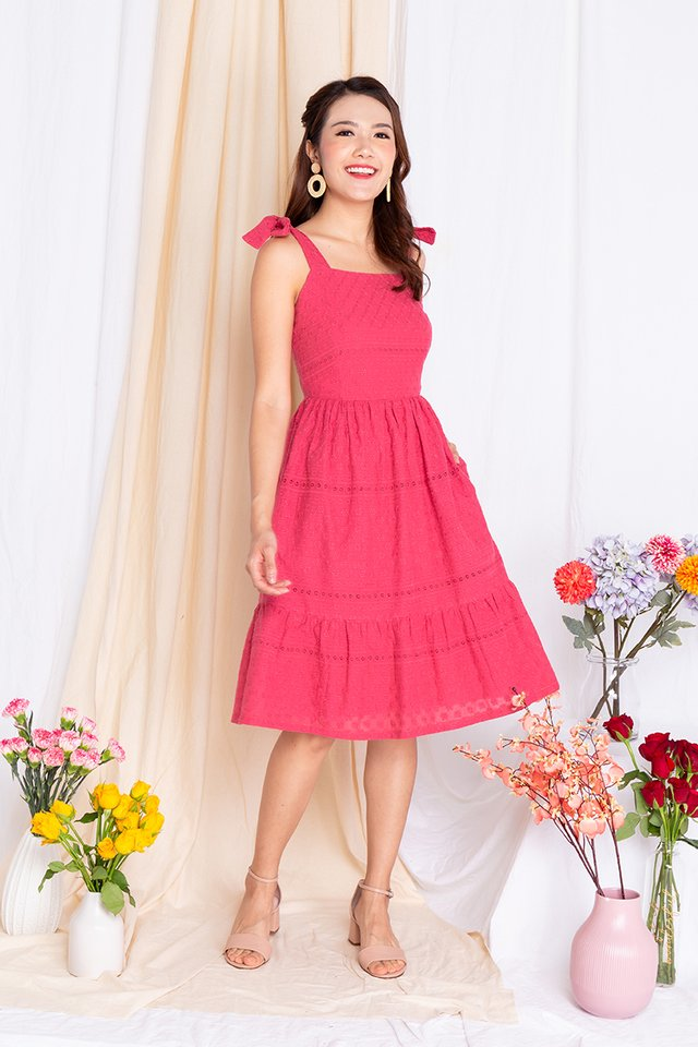 Apple of My Eyelet Dress in Guava Red
