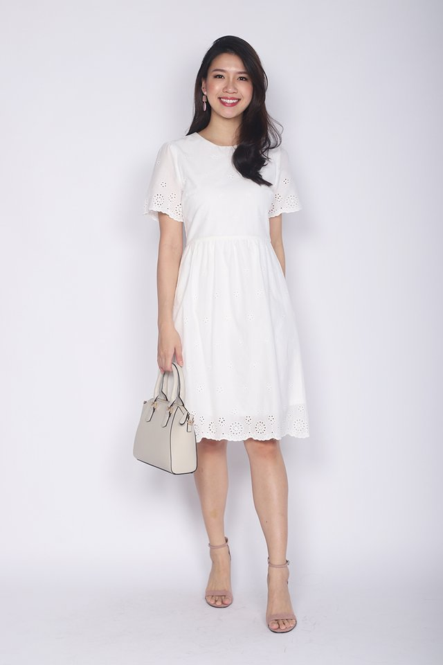 Sweet Maiden Eyelet Dress in White