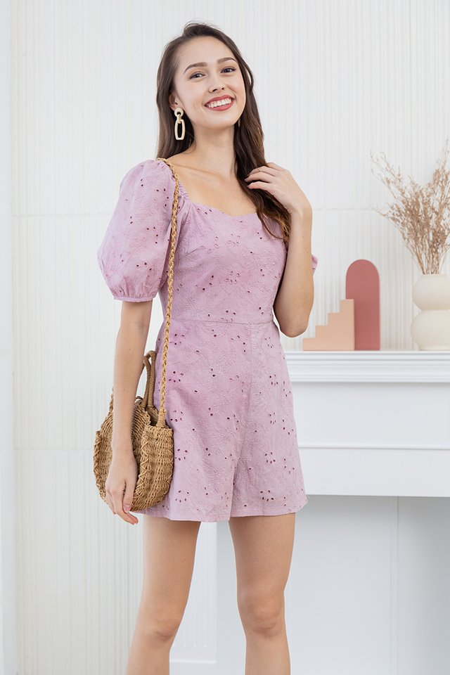 Anita Embroidery Eyelet Romper in Pink