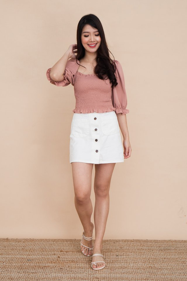 Calla Buttons Denim Skirt in White