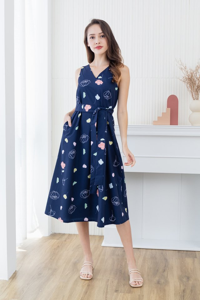 Euphoria V-Neck Tent Dress in Navy
