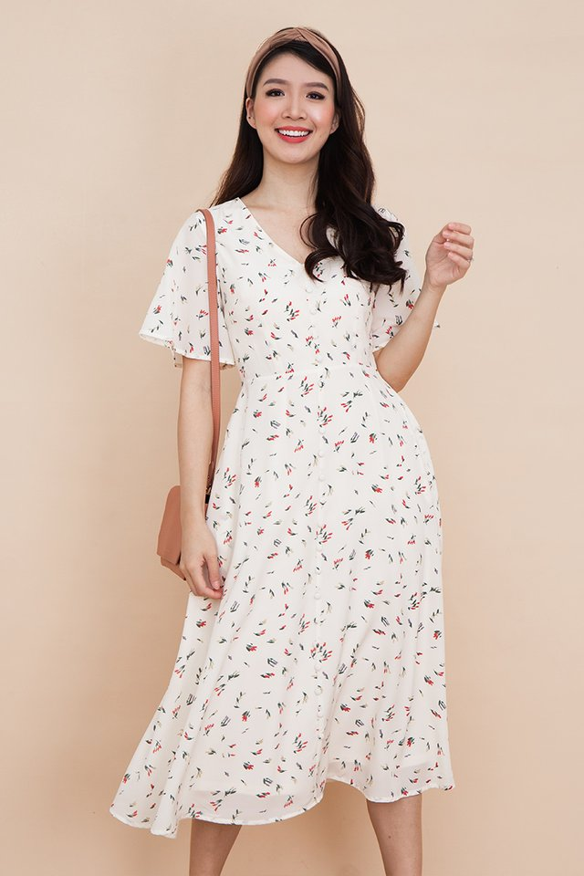 Palette Buttons Dress in Cream Poppies