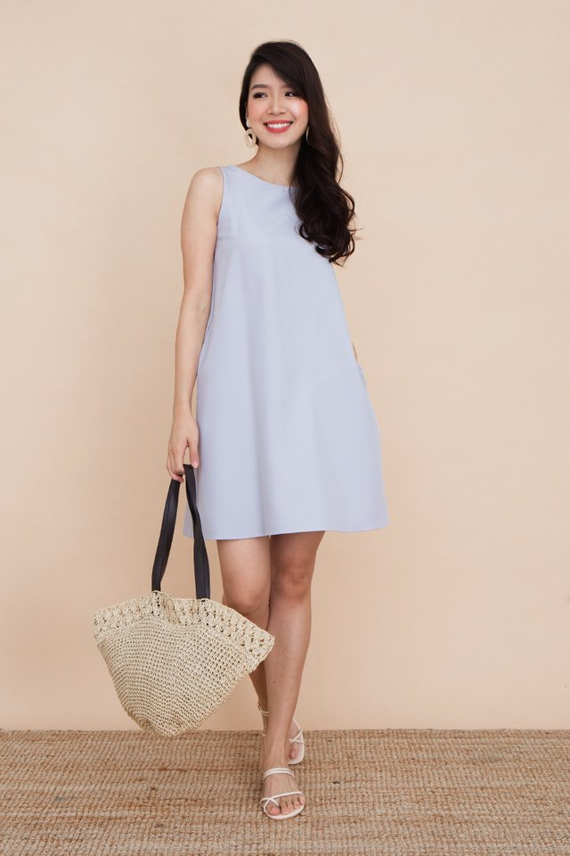 Seasons Trapeze Dress in Light Blue