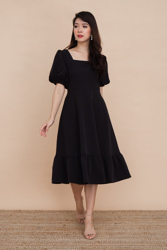 Valeria Puff Sleeve Dress in Black