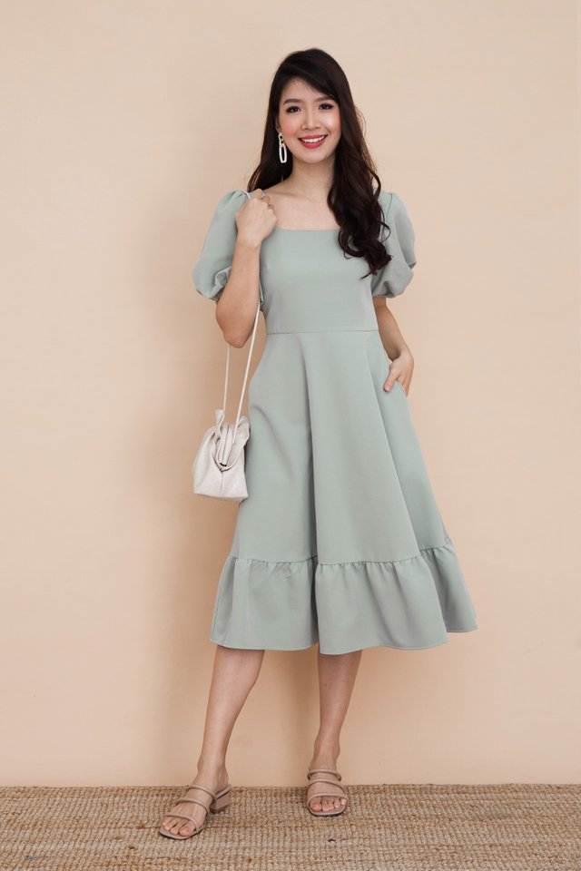 Valeria Puff Sleeve Dress in Jade