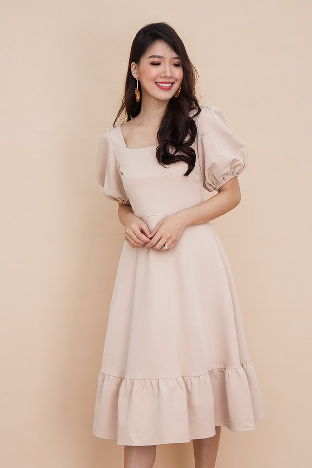 Valeria Puff Sleeve Dress in Latte
