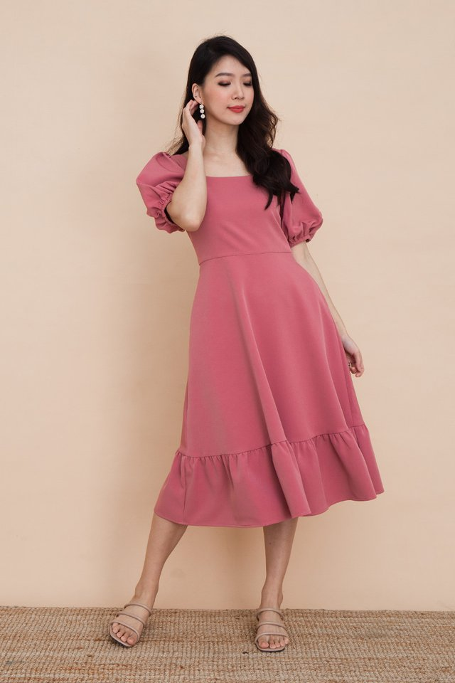 Valeria Puff Sleeve Dress in Rosewood