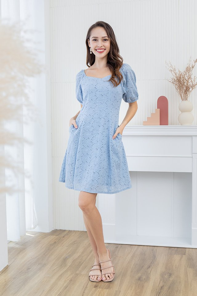 Dreaming About Eyelet Dress in Powder Blue