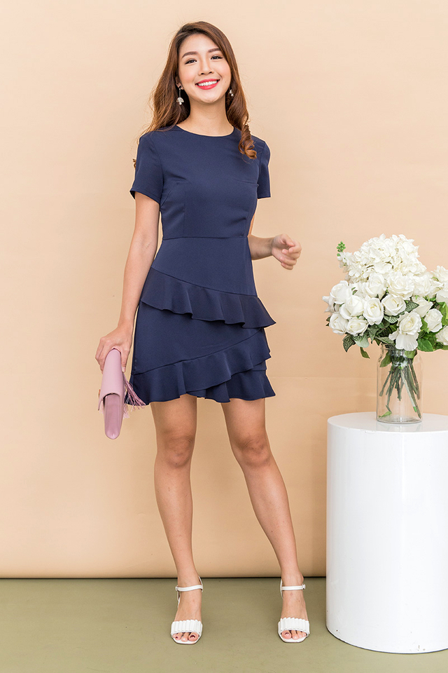 Adarie Frill Skirting Dress in Solid Navy