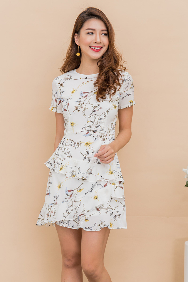 Adarie Frill Skirting Dress in White Florals