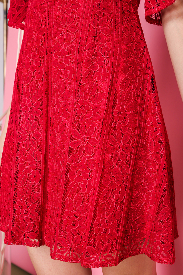 All About The Lace Dress in Festive Red