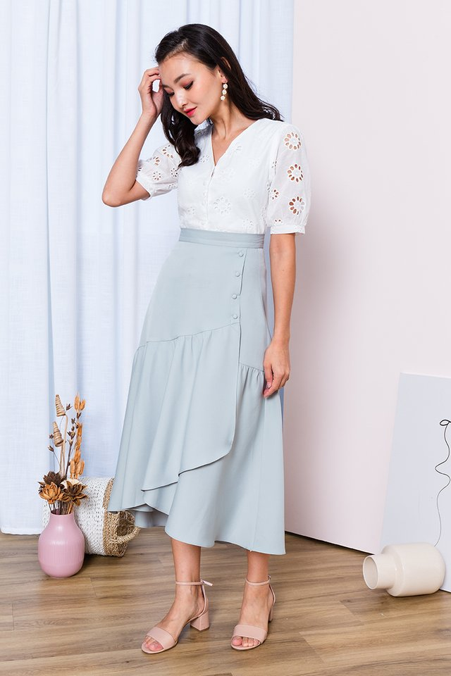 Ariel Asymmetrical Buttons Skirt in Mint